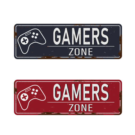 Gamers zone vintage rusty metal sign on a white background, vector illustration Ilustración de vector
