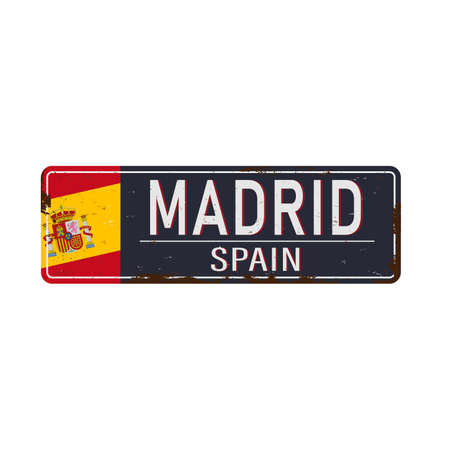 Madrid vintage rusty metal sign on a white background, vector illustration