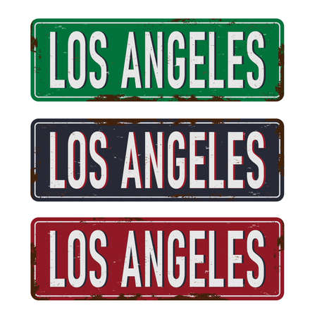 Los Angeles vintage rusty metal sign on a white background, vector illustration