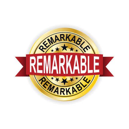 Remarkaable gold emblem or badge. Vector Illustration. Detailed.
