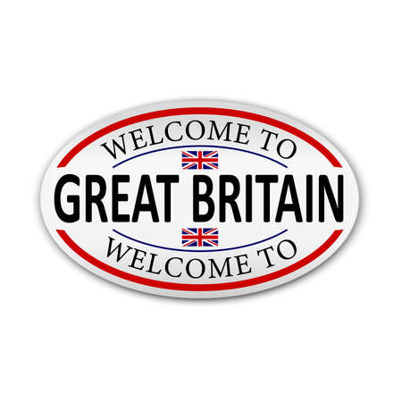 Flag of Great Britain. Welcome to Great Britain. Vector illustration. Çizim