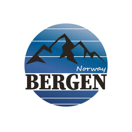 Stamp or embelm with words Bergen, Norway inside, vector illustration