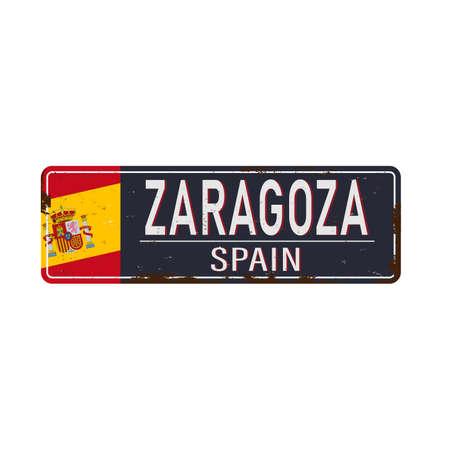 Zaragoza vintage rusty metal sign on a white background, vector Çizim