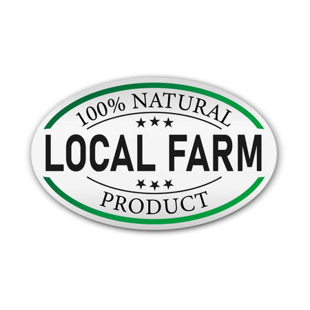 Local Farm 100 Natural Organic green label with a seam icon isolated on white background. Eco bio nature fresh food. Vector illustration