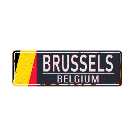 road sign Brussels Belgum on a white background