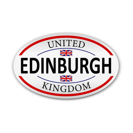 Edinburgh Great Britain flag logo icon paper badge illustration