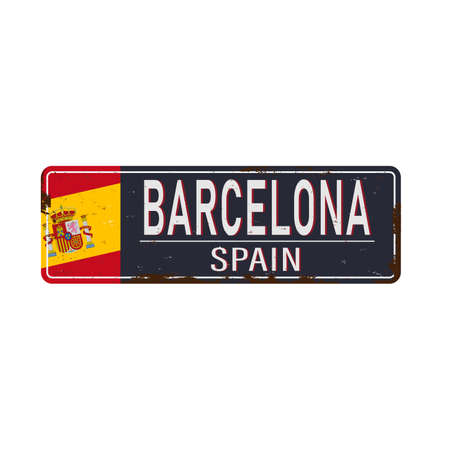 Barcelona Spain retro souvenir old metal sign. Vintage magnet templates for most popular travel destinations.