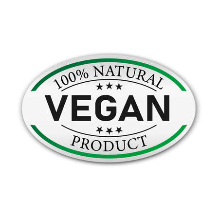 Green badge Tag with text Vegan-100 Natural,vector illustration