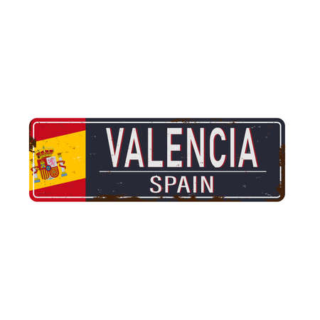 Valencia vintage rusty metal sign on a white background, vector illustration Çizim
