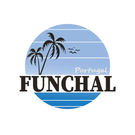 Vector illustration of Funchal, the name of a town in Portugal