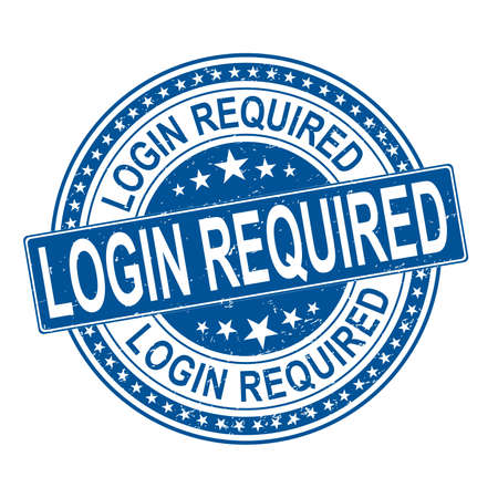 grunge stamp Login Required text. vector stamp seals use blue color,