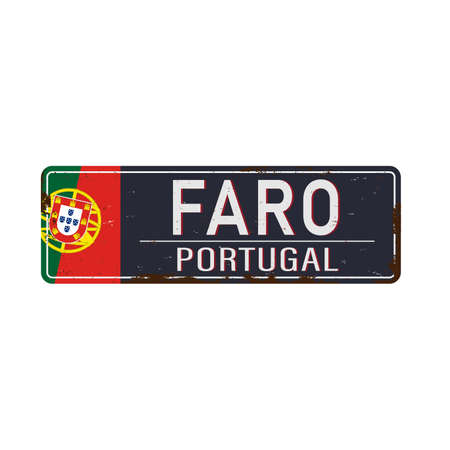 Metal rustet road sign with the name of Faro city from Portugal