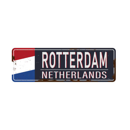 Blue And White Vector City Sign Of Rotterdam In The Netherlands