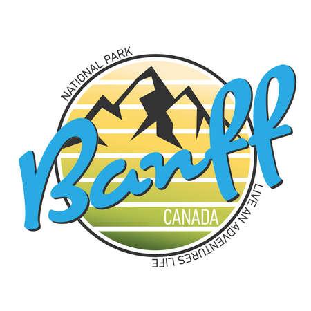 Banff national park logo badge on white background, vector illustration