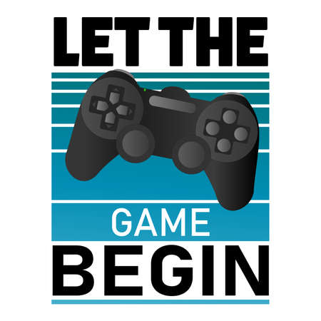 Let the game begin, Vector banner with the text: game , game controler pad. sign. Badge, icon, logo, tag, illustration