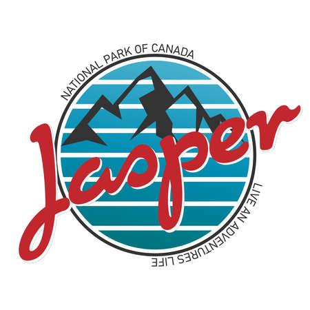 jasper national park logo badge on white background, vector illustration