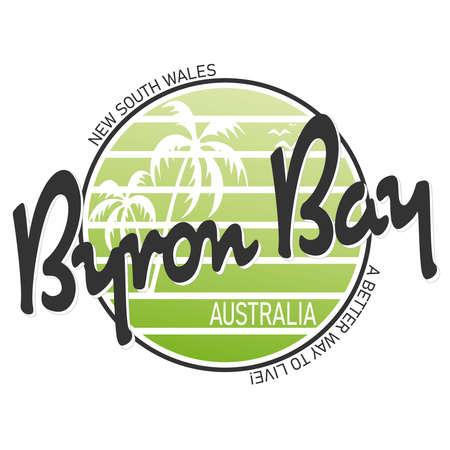 Abstract Byron Bay Australia stamp or sign, vector illustration Иллюстрация