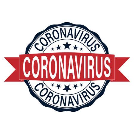 coronavirus icon and round distressed stamp seal with Coronavirus text.