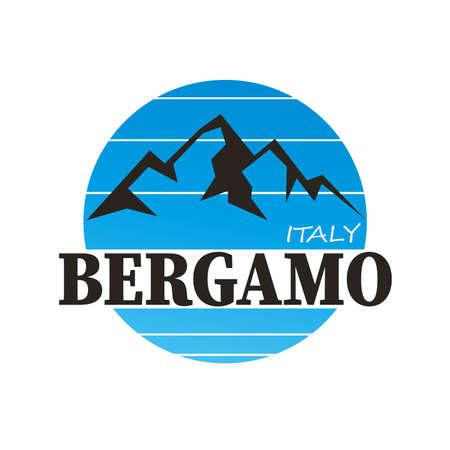 Bergamo, City sign on white, vector illustration