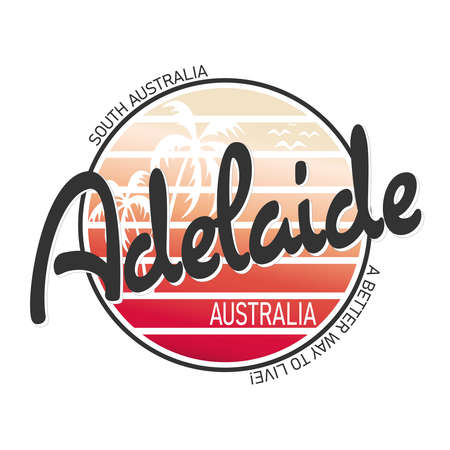 Adelaide Australia City Vector Art Round t-shirt design logo Иллюстрация