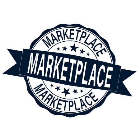 Marketplace sign or stamp on white background, vector illustration Иллюстрация