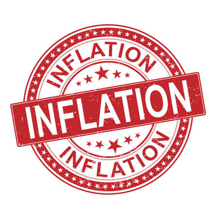 inflation. grungy red rubber stamp logo on a white background Иллюстрация