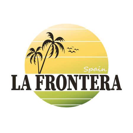 La Frontera vintage sign. Retro style handmade label, badge or element for travel souvenirs. Иллюстрация