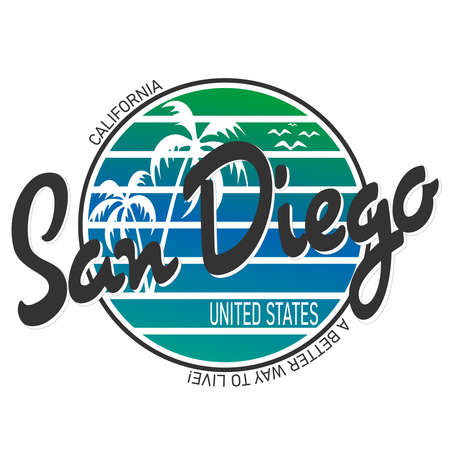 San Diego beach typography, t-shirt graphics, vectors