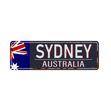 sydney australia rusty metal sign on a white background Иллюстрация