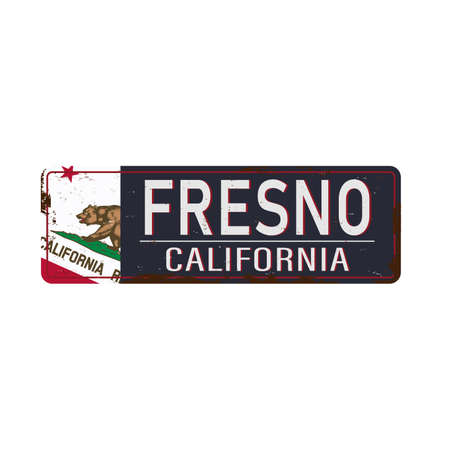 Fresno road sign with california flag isolated on white background.