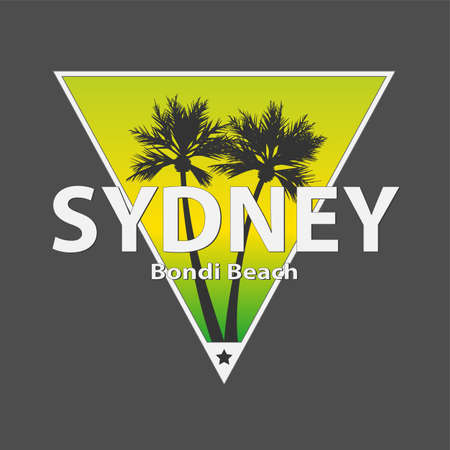 Sydney bondi palm beach vector art t-shirt design illustration