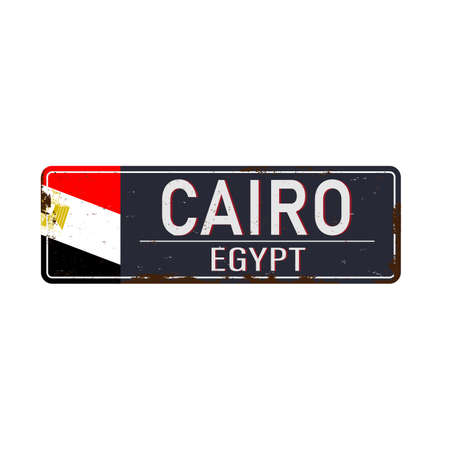 Cairo road sign with egyptian flag vector illustration, road table,