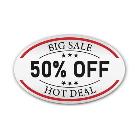 Big Sale tag with get off 50 text and ribbon. Concept of discount. Vector illustration.