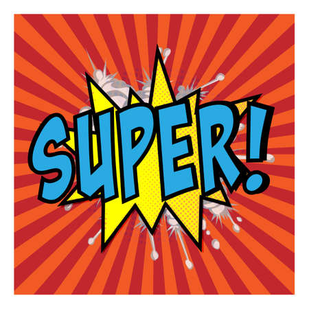 Super - Comic book style word isolated on white background.