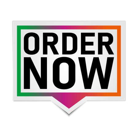 Order now banner design over a white background, vector illustration Иллюстрация