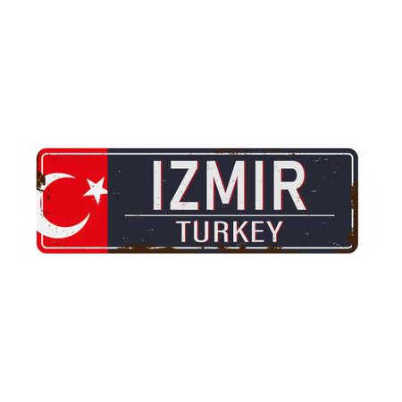 Retro metal sign retro Izmir,Turkey.Vintage touristic postcard. Иллюстрация