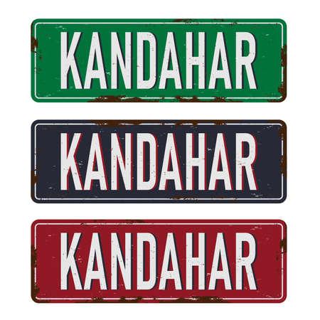 Kandahar road sign ed, green, blue vector illustration, road table Иллюстрация