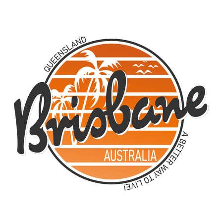 Brisbane city travel destination. vector shirt logo