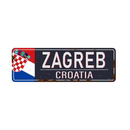 Zagreb Croatia road sign. Wide poster outline on blue metal sign board. Vector illustration. Иллюстрация