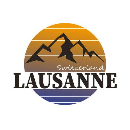 LOGO BADGE with the text Switzerland, Lausanne, vector illustration Иллюстрация