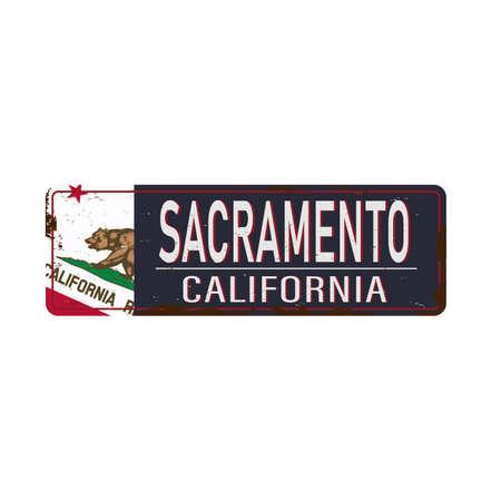 Sacramento vintage rusty metal sign on a white background,  illustration Фото со стока