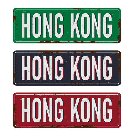 Road Sign set text Hong Kong, Blue, green and red sign in the city