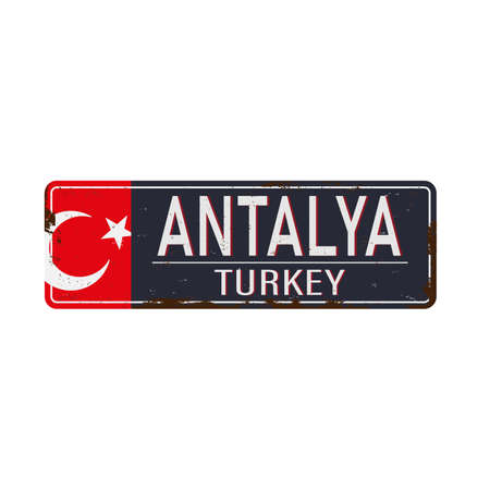 Welcome to Antalya retro souvenir sign from one of the most popular summer destinations in Turkey. Vector art illustration. on a white background