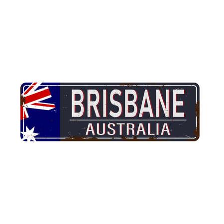 Brisbane road sign vector illustration, road table