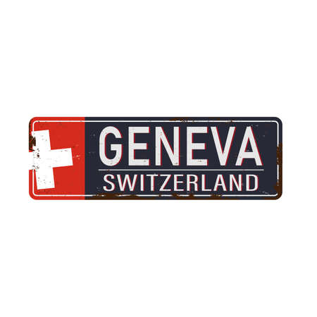 Geneva grungy rusty metal sign Vector illustration on white background.