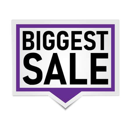 modern paper banner tag biggest sale on a white background Иллюстрация