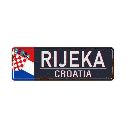 Rijeka, Croatia, road sign vector illustration, road table