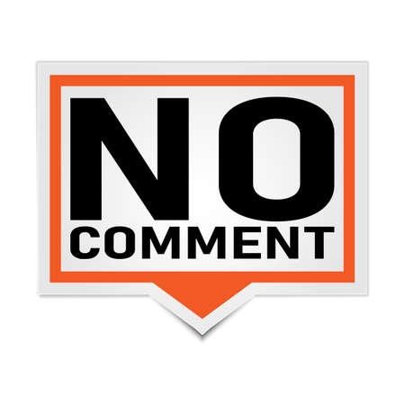 no comment orange 3d square isolated speech bubble