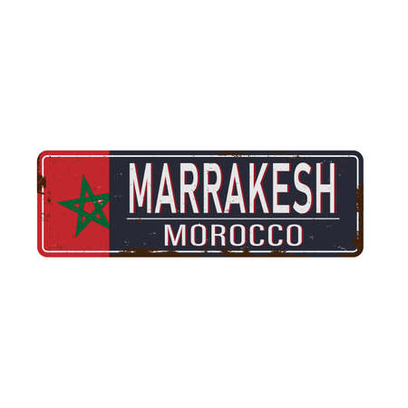 Marrakesh road sign isolated on white background.