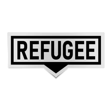 REFUGEES text on a speech bubble tag. Vector banner with REFUGEES tag on a white background. Vectores